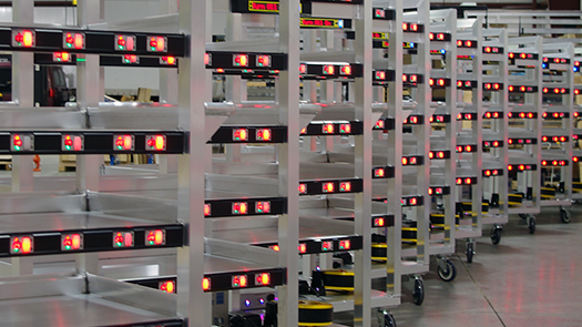 Multiple order picking carts for automated batch picking processes.