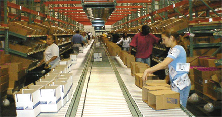 Pick-to-light in direct selling distribution center.