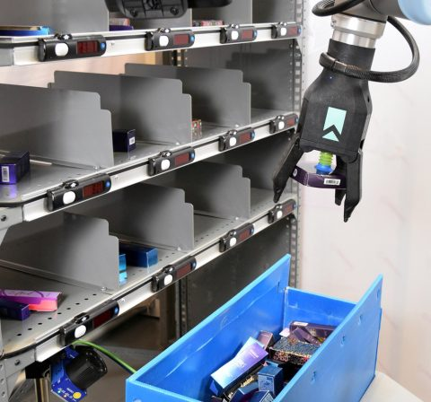 Lightning Pick Put Wall Integrated with Robotic Picking Solution by RightHand Robotics at 3PL Capacity LLC